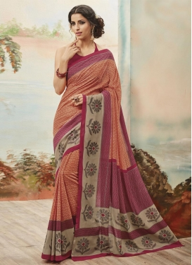 Art Silk Crimson and Peach Print Work Trendy Classic Saree