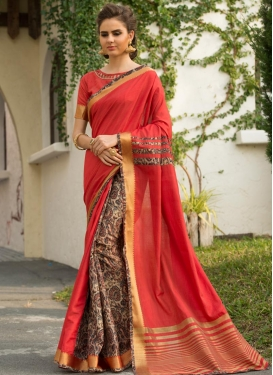 Art Silk Digital Print Work Beige and Salmon Classic Designer Saree