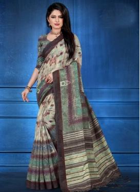 Art Silk Digital Print Work Beige and Sea Green Trendy Classic Saree