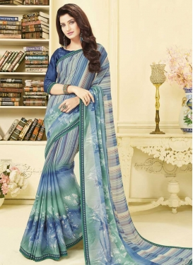 Art Silk Digital Print Work Contemporary Saree