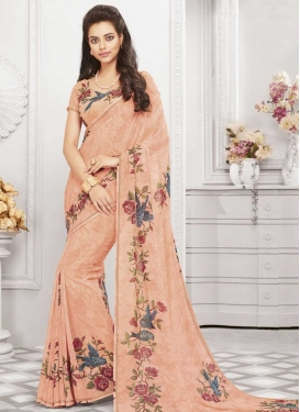 Art Silk Digital Print Work Designer Contemporary Style Saree