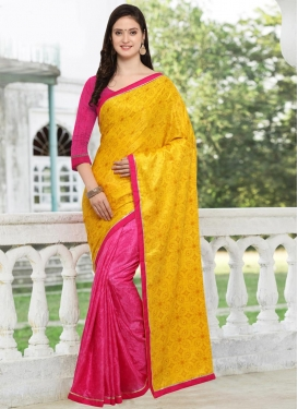 Art Silk Digital Print Work Mustard and Rose Pink Half N Half Saree
