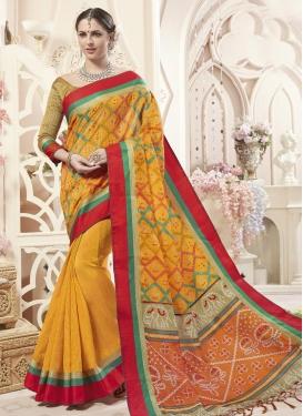 Art Silk Digital Print Work Trendy Classic Saree