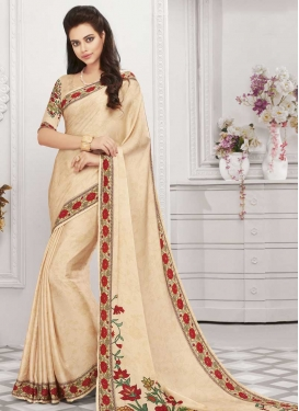 Art Silk Digital Print Work Trendy Saree