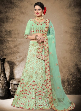 Art Silk Embroidered Work A - Line Lehenga