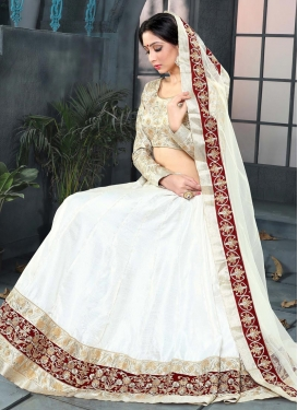 Art Silk Embroidered Work A Line Lehenga Choli