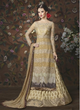 Art Silk Embroidered Work Beige and Cream Kameez Style Lehenga For Festival