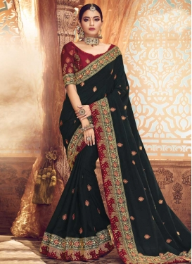 Art Silk Embroidered Work Black and Red Trendy Classic Saree