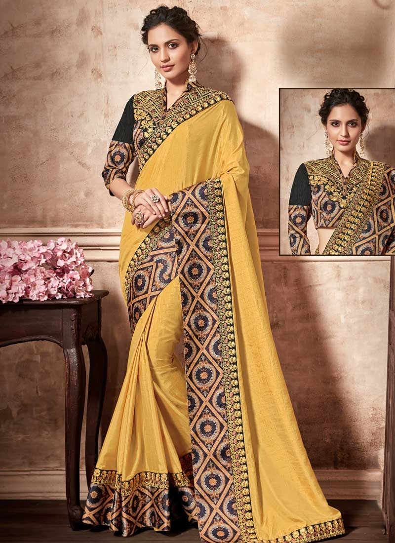 Art Silk Embroidered Work Black and Yellow Traditional Designer Saree