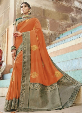 Art Silk Embroidered Work Bottle Green and Orange Contemporary Style Saree