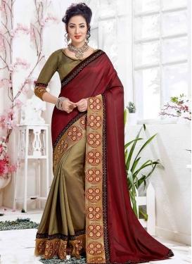 Art Silk Embroidered Work Brown and Maroon Half N Half Trendy Saree