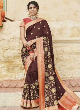 Art Silk Embroidered Work Coffee Brown and Salmon Designer Traditional Saree