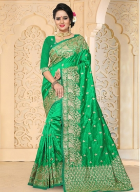 Art Silk Embroidered Work Contemporary Saree