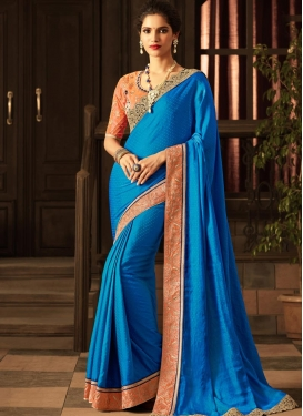 Art Silk Embroidered Work Contemporary Style Saree