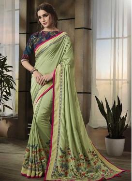 Art Silk Embroidered Work Contemporary Style Saree