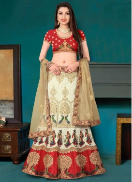Art Silk Embroidered Work Cream and Red Trendy A Line Lehenga Choli