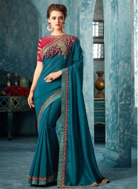 Art Silk Embroidered Work Designer Contemporary Saree