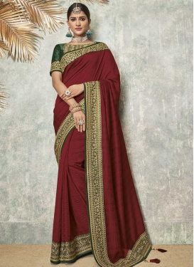 Art Silk Embroidered Work Designer Contemporary Style Saree