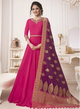 Art Silk Embroidered Work Floor Length Designer Salwar Suit
