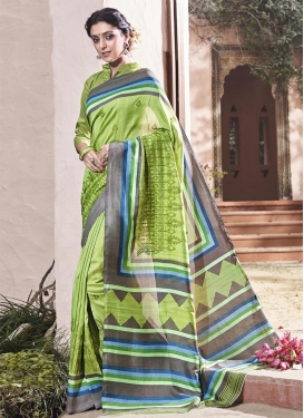 Art Silk Embroidered Work Grey and Mint Green Classic Saree For Ceremonial