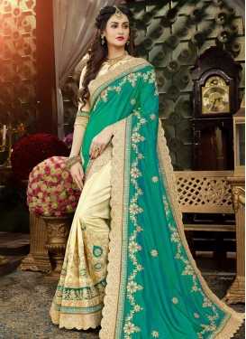Art Silk Embroidered Work Half N Half Saree