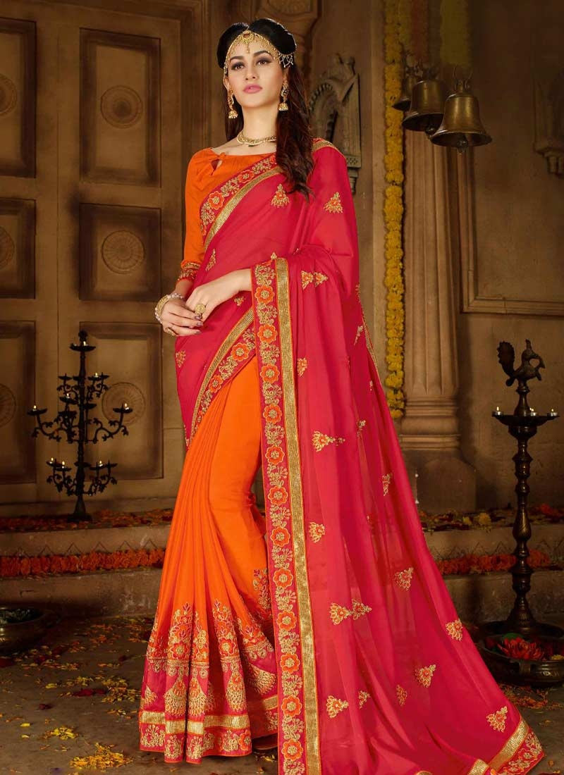 Art Silk Embroidered Work Half N Half Trendy Saree