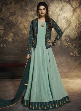 Art Silk Embroidered Work Jacket Style Long Length Suit