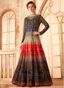 Art Silk Embroidered Work Long Length Anarkali Salwar Suit