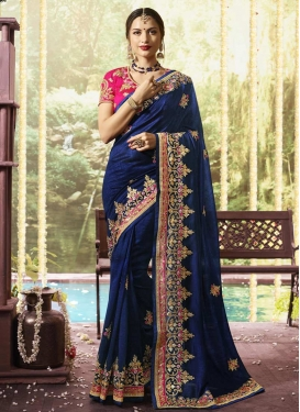 Art Silk Embroidered Work Navy Blue and Rose Pink Designer Contemporary Saree