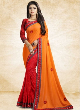Art Silk Embroidered Work Orange and Red Half N Half Designer Saree