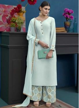 Art Silk Embroidered Work Palazzo Style Pakistani Salwar Kameez