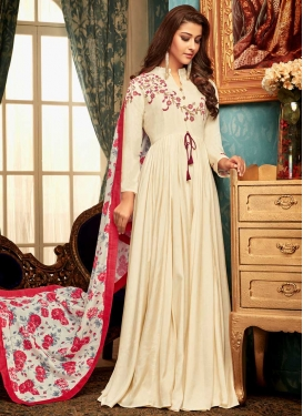Art Silk Embroidered Work Readymade Classic Gown