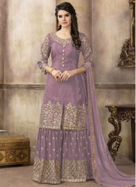 Art Silk Embroidered Work Sharara Salwar Kameez