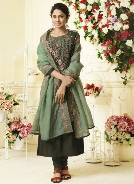 Art Silk Embroidered Work Trendy Pakistani Salwar Kameez