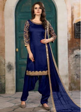 Art Silk Embroidered Work Trendy Semi Patiala Salwar Suit