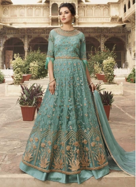 Art Silk Floor Length Anarkali Salwar Suit For Festival