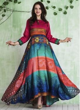 Art Silk Floor Length Trendy Gown