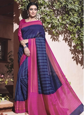 Art Silk Fuchsia and Navy Blue Embroidered Work Traditional Saree