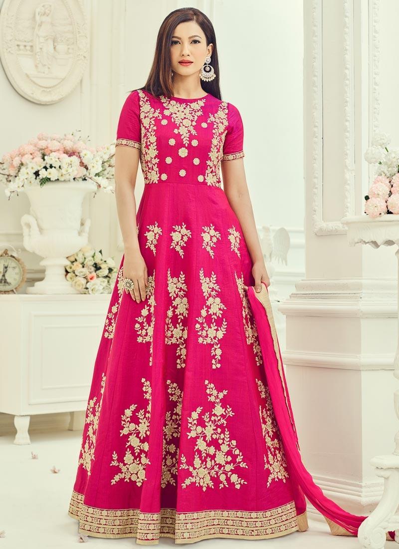 Art Silk Gauhar Khan Long Length Anarkali Salwar Suit For Ceremonial
