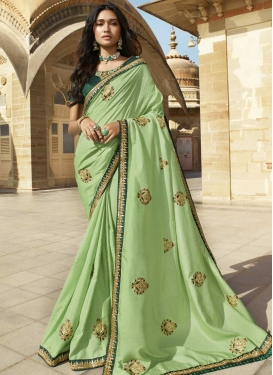 Art Silk Green and Mint Green Contemporary Style Saree For Festival