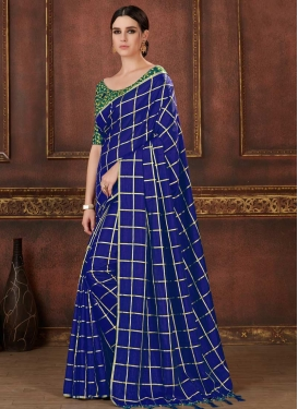 Art Silk Green and Navy Blue Classic Saree