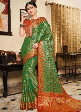 Art Silk Green and Red Designer Contemporary Saree