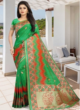 Art Silk Green and Red Designer Contemporary Style Saree For Festival