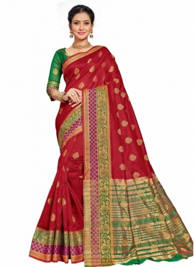 Art Silk Green and Red Designer Traditional Saree