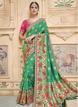 Art Silk Green and Rose Pink Contemporary Style Saree For Bridal