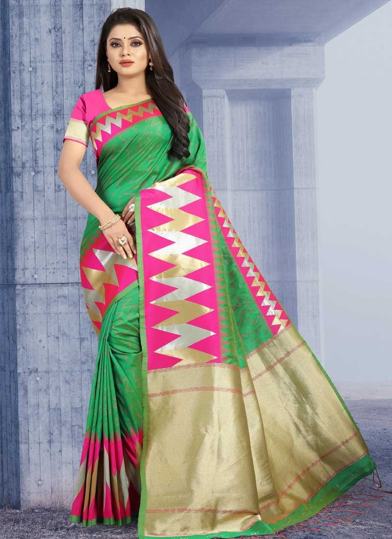 Art Silk Green and Rose Pink Designer Contemporary Style Saree For Ceremonial