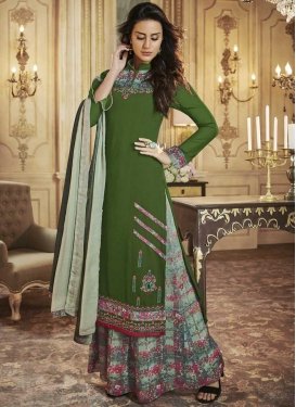 Art Silk Green and Sea Green Palazzo Straight Salwar Suit