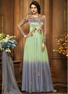 Art Silk Grey and Mint Green Embroidered Work Floor Length Salwar Kameez
