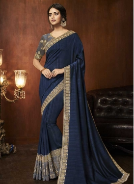 Art Silk Grey and Navy Blue Contemporary Style Saree For Festival