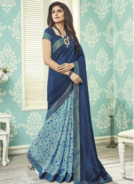 Art Silk Grey and Navy Blue Lace Work Half N Half Saree